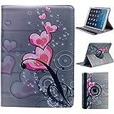 Housse étui motif constellation, PU cuir cas de stand / Couverture / Stand / Housse de protection Regarde Apple iPad Air. Rotation de 360 degrés, Multi-Function Leather Stand Case / Cover, KXC0040 pink-heart