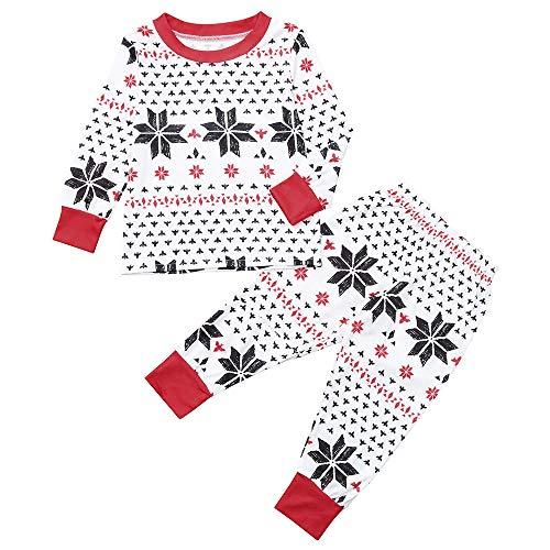 FRAUIT Weihnachten Familie Kinder/Mama/Papa Familie Schneeflocke Pyjama/Schlafanzug Weihnachten Muster Pyjama Set - Herren Damen Kinder Baby Weihnachten Schlafanzüge/Einteiliger Nachtwäsche -