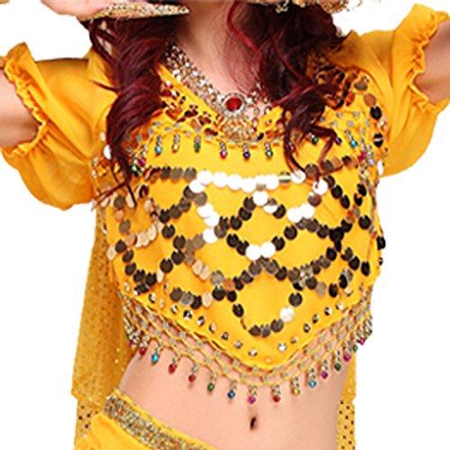Kostüm Bauchtanz Perlen - Best Dance Damen Bauchtanz Kostüme Laterne Bluse Top mit Pailletten Perlen Glocken