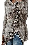 MAGIMODAC Damen Strick Pullover Pulli Sweater Jumper Cardigan Longpullover Longpulli mit Fransen 34 36 38 40 42 44 46 (Khaki, Etikett S/EU 34-36)