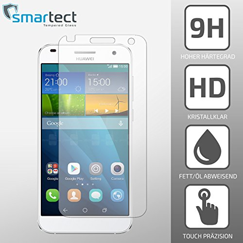 SmarTect® Huawei G7 Protector Cristal Templado | Premium Protector de Pantalla | Gorilla glass con grado de dureza 9H | Lámina blindada - cristal protector de calidad contra