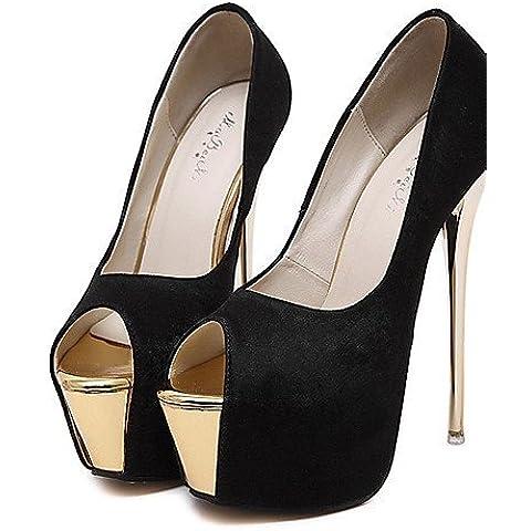 LFNLYX Scarpe Donna-Scarpe col tacco-Formale / Serata e festa-Tacchi / Spuntate / Plateau-A stiletto-Sintetico-Nero / Rosa / Bianco , black , us6 / eu36 / uk4 / cn36