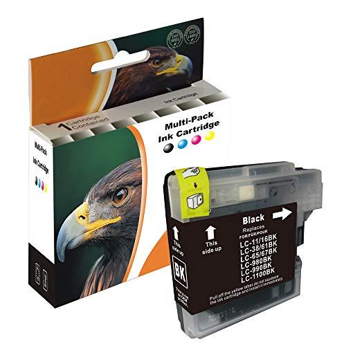 D&C 15ml Black Druckerpatronen kompatibel für Brother LC-980/1100 DCP-185C,DCP-385C,DCP-395CN,DCP-585CW,DCP-6690CW,DCP-J615W,DCP-J715W,MFC-490CW,MFC-5490CN,MFC-5895CW,MFC-6890CDW,MFC-795CW,MFC-990CW - Brother Lc61 Tintenpatronen