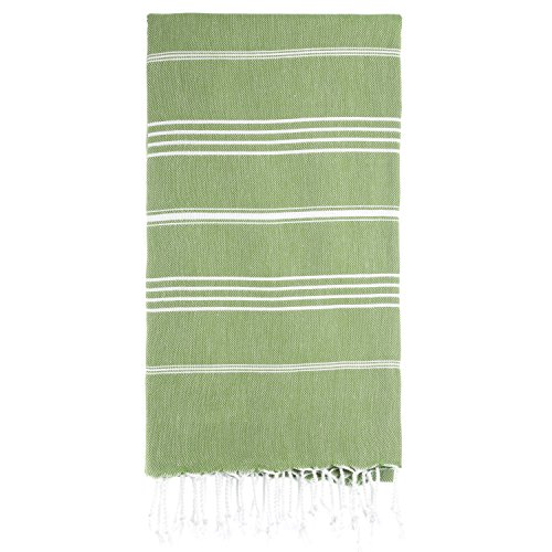 "100%Reine Cotton Baumwolle Türkischen Tuch Badetuch Handtuch Saunatuch Strandtuch Hamamtuch Pestemal Peshtemal Turkish Bad Towel Hamam Thermalbad Pool Schwimmbad Gymnasium Fitness Massage Baby Kind Handtuch Fouta Feine Streifen""Oliv - Olive Green"""