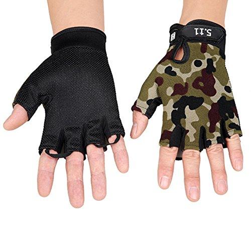 Ouken 1 Paar halbe Finger Radfahren Handschuhe für Kinder Erwachsene atmungsaktiv Anti-Rutsch-Outdoor-Sportarten Handschuhe junge Mitten im Freienerholung (Camouflage)
