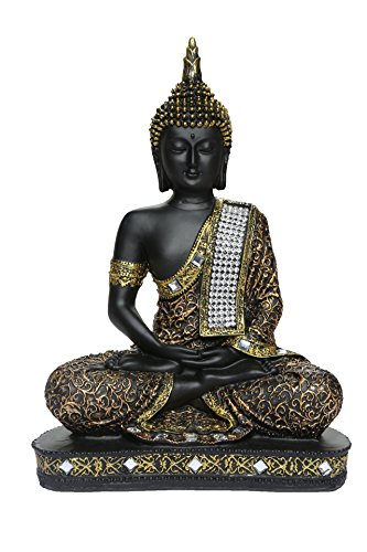 HEERAN ART Polyresin Sitting Buddha 24 cm Copper and Black