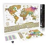 Paquete definitivo de mapa de rascar (mapa del mundo, de los EE. UU. y de Europa) | 3 mapas de rascar de gran calidad con un juego completo de accesorios y banderas de todos los países.