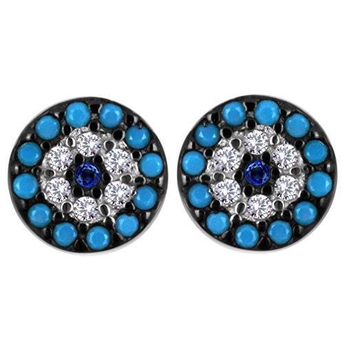 YAZILIND klassische 925 Sterlingsilber-Kugel Türkis-blaue Rhinestone-Bolzen-Ohrringe