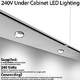 6x * 240V * LED Unter Schränke/Küche/Spots–Chrom & Natural weiß–Oberfläche & Flush/Nische Mount Arbeitsplatte Zähler Light–Beleuchtung Beam, Cablefinder