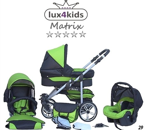 Chilly Kids Matrix II Kinderwagen Komplettset (Autositz & Adapter, Regenschutz, Moskitonetz, Schwenkräder) 29 Schwarz & Grün