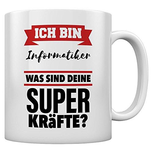 Geschenktasse für Informatiker mit Superkräften! Kaffeetasse Tee Tasse Becher 11 Oz. Weiß