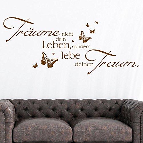 KLEBEHELD® Wandtattoo Träume nicht dein Leben, sondern lebe deinen Traum mit Schmetterlinge | Wandspruch Schlafzimmer Wohnzimmer Farbe schwarz, Größe 80x34cm