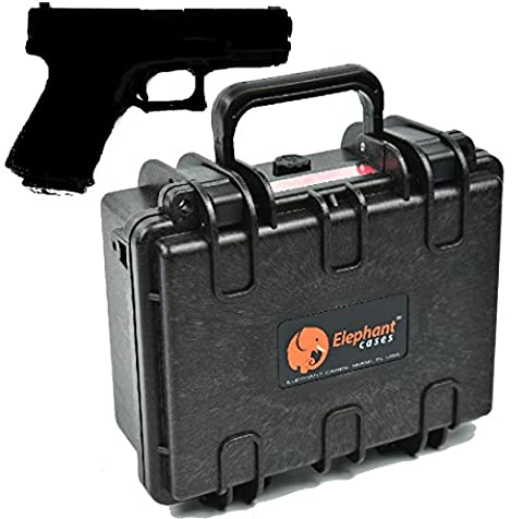 Elephant Cases E120 Handgun Pistol Hard Case for Small to Medium Gun and Magazine Great for the Shooting Range, Safe Storage or Travel Fits Glock 19, Sig Sauer P226 Smith & Wesson