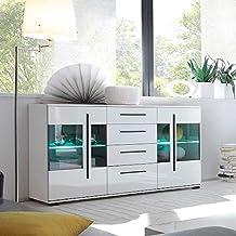 Pharao24 Wohnzimmer Sideboard In Weiß Hochglanz Glastüren LED Beleuchtung