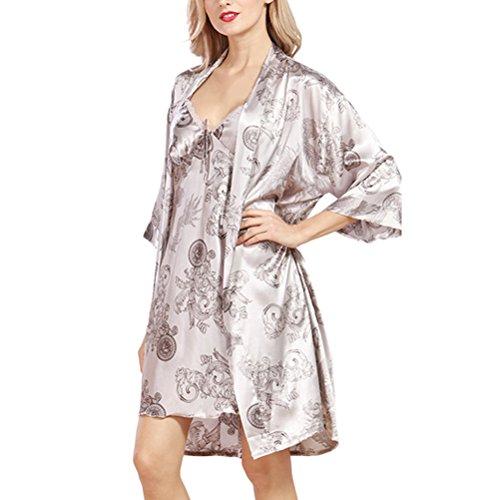 Zhhlaixing Ladies Silk Satin Dressing Gown Long Kimono Robe Set gray