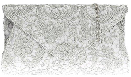 Damen-Satin-Spitze-Handtasche Maxi-Frauen Abendveranstaltungen Mode Schulter-Kette - Silber (Handtasche Satin-damen-medium)