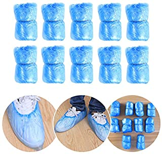 PIXNOR Überschuhe Einmal Einweg-Kunststoffabdeckungen Schuh-Packung zu 100 (blau)