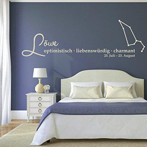 denoda Löwe - Sternzeichen Wandtattoo Weiss 82 x 25 cm (Wandsticker Wanddekoration Wohndeko Wohnzimmer Kinderzimmer Schlafzimmer Wand Aufkleber)