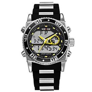Yesurprise Montre numérique & quartz LCD Lumineux 2 mouvements Pour homme étanche Bracelet en silicone Noir WEIDE2316-5