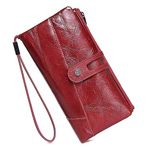 WFF Europäische und amerikanische Casual-Damen-Clutch, Leder mit Lederarmband aus Leder,rot,cm