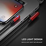 CAFELE 90 Degree Phone Charger Cable with LED Light, 6FT Angled Cable Right Angle Charging Cord Fast Speed Sync Date Cable for Phone (Red)