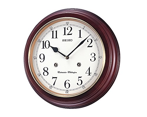 Seiko Wall Clock (31.4 cm x 31.4 cm x 6.1 cm, Brown, QXH202ZN)