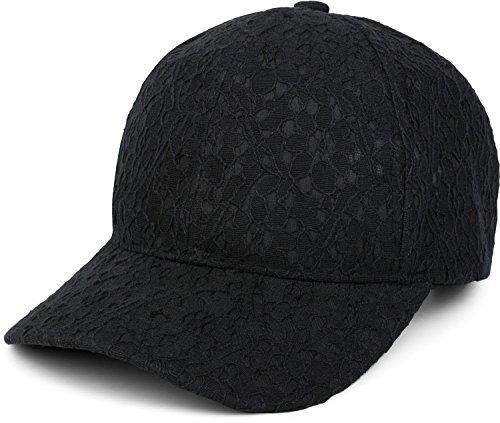 styleBREAKER 6-Panel Cap mit All Over Spitze, Baseball Cap, verstellbar, Damen 04023052, Farbe:Schwarz