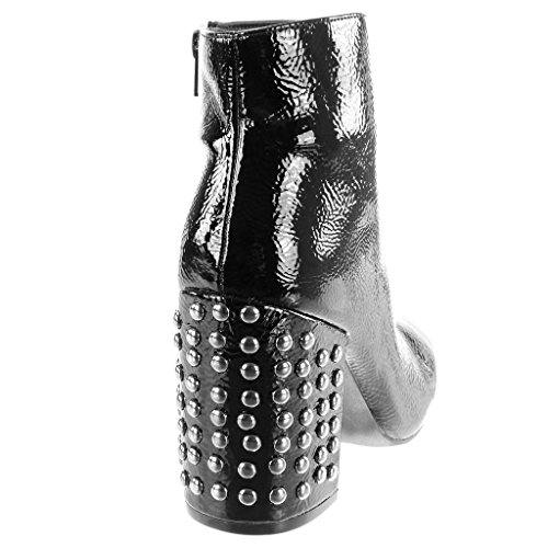 Angkorly Fashion Shoes Bottines Femme Glossy High Block Block Talon 9.5 Cm Noir