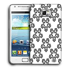 Snoogg Grey Pattern White Printed Protective Phone Back Case Cover For Samsung Galaxy S2 / S II
