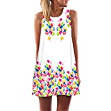 MRULIC Damen Lovely Mini Floral Printing A-Linie Kleider Beach Dress Vintage Boho Frauen Sommer Ärmelloses Party Kleide(O-Weiß,EU-46/CN-2XL)