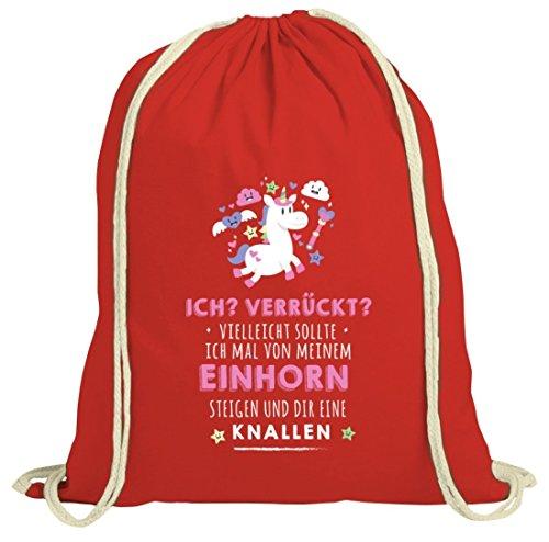 Unicorn natur Turnbeutel mit Vom Einhorn steigen Motiv von ShirtStreet Rot Natur