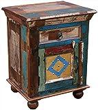 KMH®, Nachttisch Phoenix im Shabby Chic/Vintage Style (aus recyceltem Sheeshamholz gefertigt!) (#202208)