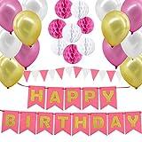 Gyvazla Globos Cumpleaños, Decoraciones Fiesta de Cumpleaños con Happy Birthday Bandera, 8 Pompon de Papel, 12 Globos, 12 Pancarta Triangular, para Chicas, Mujeres y Adultos