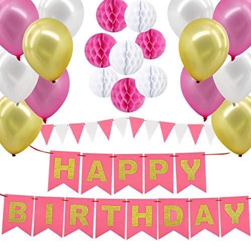 Gyvazla Geburtstagsdeko Set Mädchen, Happy Birthday Banner Garland + 8 Papierwabenkugeln + 12 dreieckige Wimpel + 12 Ballons Dekoration Set für Mädchen und Jungen Jeden Alters Baby-Partys (Rosa Weiß)