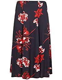 e328b271585 Yours Clothing Women s Plus Size Floral Print Midi Jersey Skirt