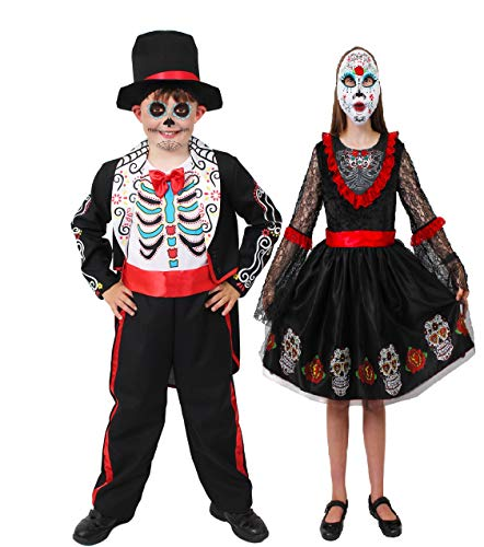 ILOVEFANCYDRESS Kinder Jungen+MÄDCHEN=Day of The Dead KOSTÜME VERKLEIDUNG = Sugar Skull Motive =Kleid+Maske ODER Anzug+Hut =TOLL FÜR Halloween ODER Fasching UND - Sugar Skull Kostüm Kind