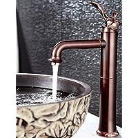 YFF@Antico Installazione centrale Cascata with Valvola in ceramica Una manopola Un foro for Oro rosa , Lavandino rubinetto del bagno , black+red
