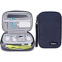 Damero USB sacchetto del raccoglitore di caso flash drive, SD Memory Card Cable Organizer --Travel caso gadget per le piccole Elettronica Accessori, Blu scuro