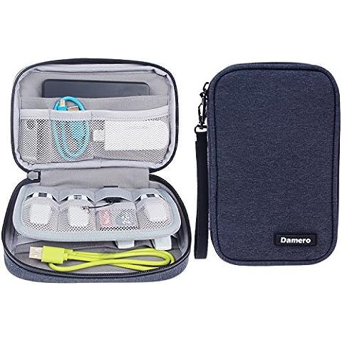 Damero USB Flash Drive Caso empaqueta la cartera, las tarjetas de memoria SD Cable Organizador - caso del recorrido Gadget para los pequeños accesorios Electrónica - azul marino