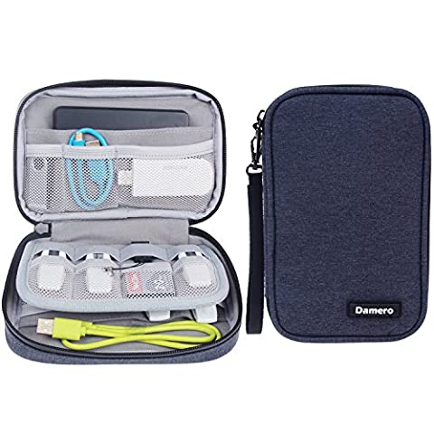 Damero Kleine Tasche für USB-Sticks und Speicherkarten, Aufbewahrungstasche Organiser Tasche für Zubehöre, Dunkelblau