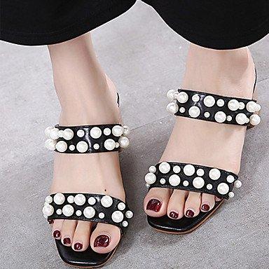 LvYuan Da donna Sandali PU (Poliuretano) Estate Perle di imitazione Quadrato Nero Tessuto almond 5 - 7 cm almond
