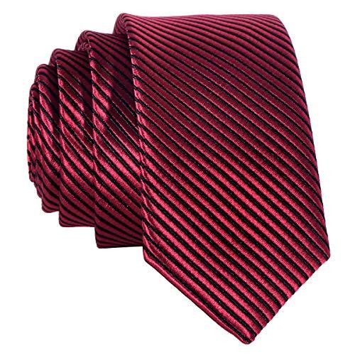 Schmale rote Krawatte mit schwarzen Streifen - von Hand gefertigt rot-schwarz gestreift Querstreifen - Krawatte Streifen