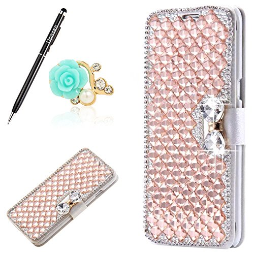 t Samsung Galaxy Note 4 Handyhülle Glitzer Leder Tasche Schutzhülle Bling Strass Diamant Brieftasche Handytasche Lederhülle Wallet Case Flip Cover Book Case,Rose Gold ()