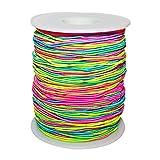Elastische Perlenschnur 1mm - 100m in Regenbogenfarben, Ombre Design, Gummifaden, elastische Neon Gummischnur zur Schmuckherstellung, Kinderschmuck, Haargummis, Kostüm Basteln, Schlüsselanhänger