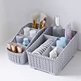 #7: Diswa 2pcs Multi Grids Desktop Sundries Storage Basket Plastic Makeup Organizer Home Office Stationary Storage Container Box