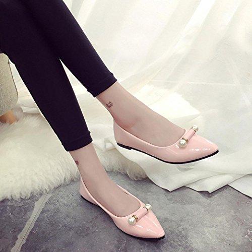Hunpta Mode Damen Freizeitschuhe Schwangere Frauen Schuhe Perle Breathable flache Schuhe Rosa