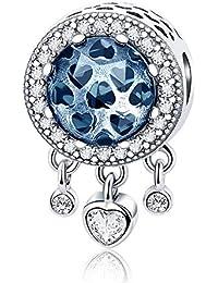 0cb5aa038055 Colgante de corazón azul 100% plata de ley 925 con forma de corazón  radiante CZ cuentas de cristal compatible con…