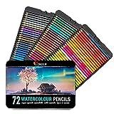 Zenacolor 72 Lápices de Colores Acuarelables, Numerados con Pincel en Caja Metálica Set de...