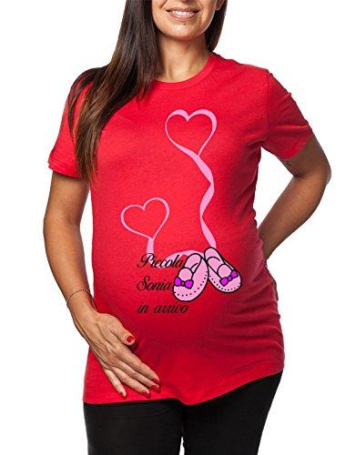 Tshirt lunga da donna ideale per il premaman femminuccia Piccola Sonia in arrivo - tshirt simpatiche e divertenti - humor Rosso