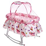 !!! Launching Offer !!! Fun Baby Cozy New Born Baby Cradle/Baby Jhula/Baby Palna/Crib / Bassinet With Mosquito Net And Rocking Base (Pink)